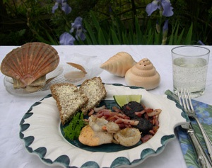 Luxury breakfast with scallops
